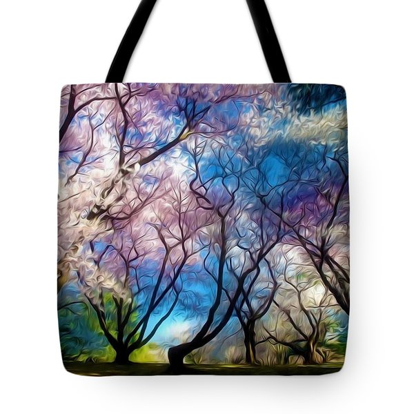 Blossom Cherry Trees Over Spring Sky Tote Bag by Lanjee Chee
