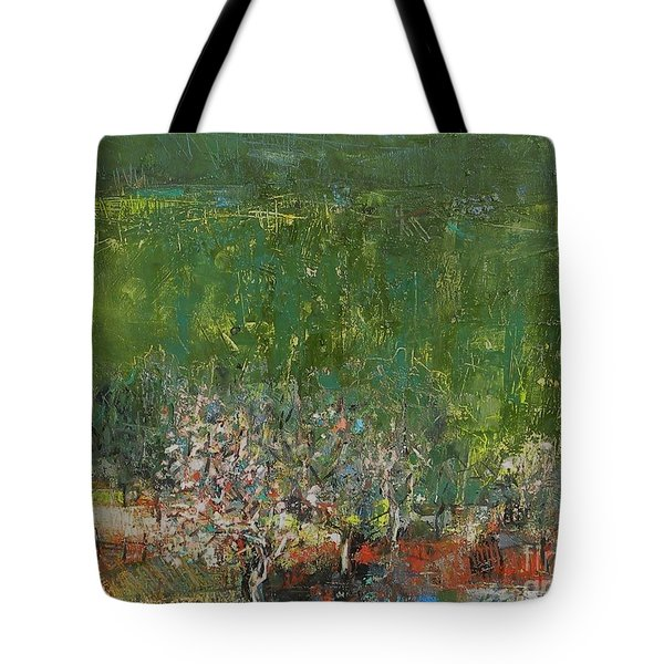 Blossoming Tree In The Garden Tote Bag