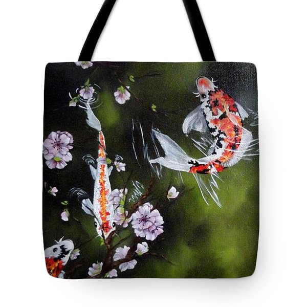 Blossoms And Koi Tote Bag by Carol Avants