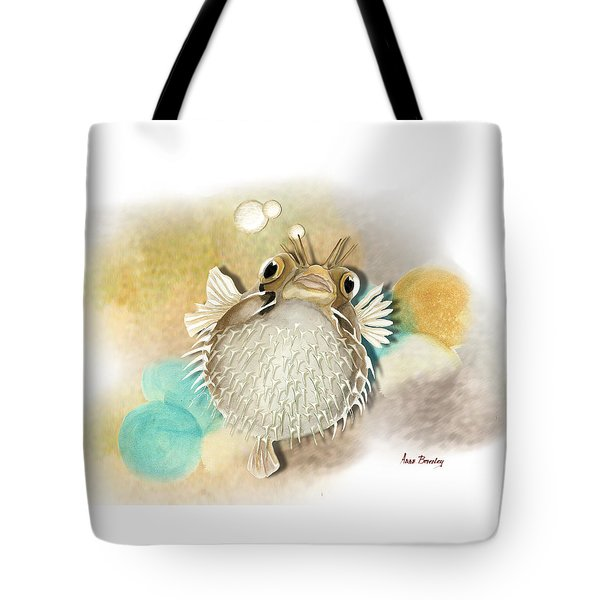 Tote Bag featuring the painting Blowfish by Anne Beverley-Stamps