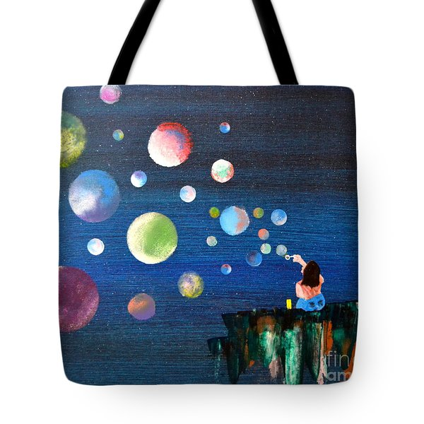 Blowing Bubbles Tote Bag by Denise Tomasura