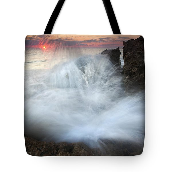Blowing Rocks Sunrise Explosion Tote Bag by Mike  Dawson