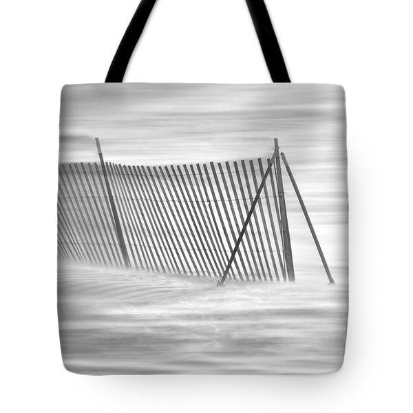 Blowing Snow At Snow Fence  Tote Bag by Dan Friend