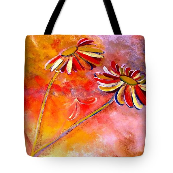 Tote Bag featuring the painting Blown Backward Fall Floral by Lisa Kaiser