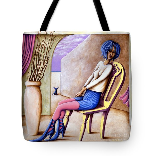 Tote Bag featuring the painting BLU by Valerie White