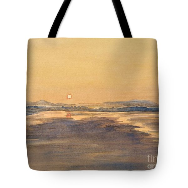 Tote Bag featuring the painting Blue Anchor Sunset by Martin Howard