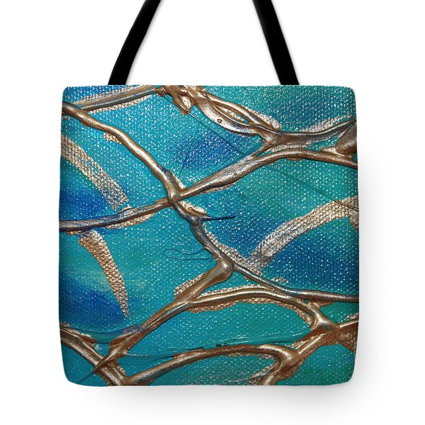 Blue And Gold Abstract Tote Bag