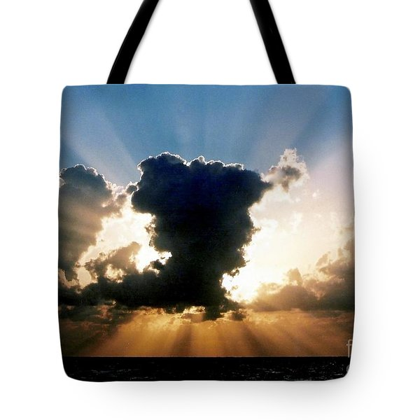 Tote Bag featuring the photograph Blue And Gold Rays Sunset In The Gulf Of Mexico Off The Coast Of Louisiana by Michael Hoard