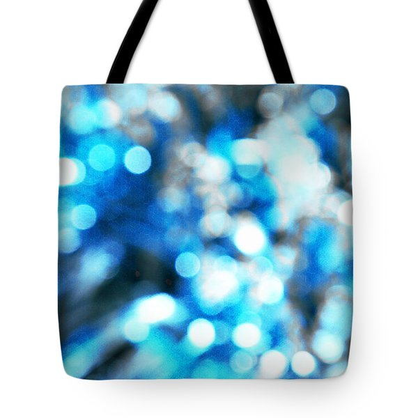 Tote Bag featuring the digital art Blue And White Bokeh by Fine Art By Andrew David