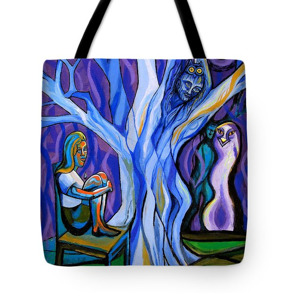 Blue And Purple Girl With Tree And Owl Tote Bag by Genevieve Esson