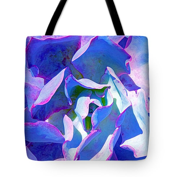 Blue And Purple Succulent Close Up Tote Bag by Amy Vangsgard