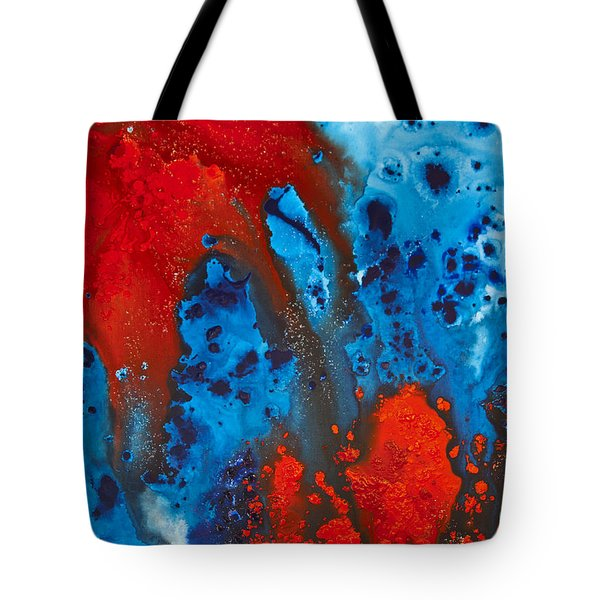 Blue And Red Abstract 3 Tote Bag by Sharon Cummings