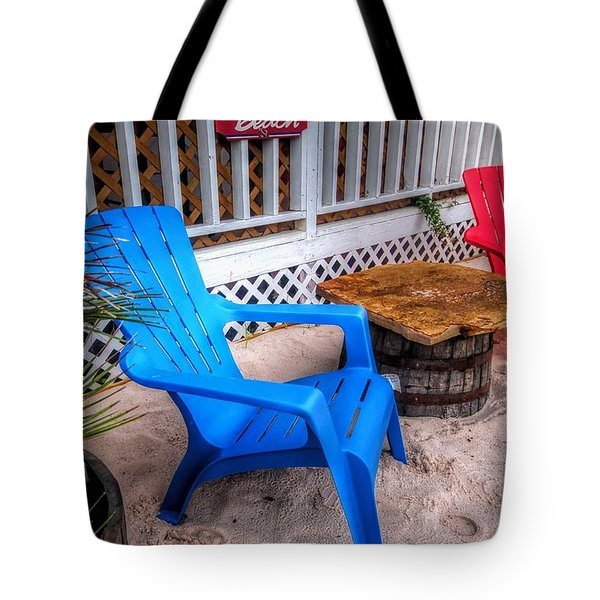Tote Bag featuring the digital art Blue And Red Chairs by Michael Thomas