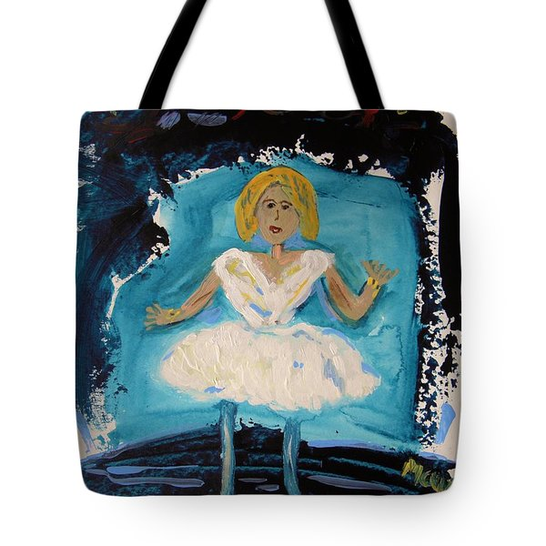 Blue And White Ballerina Tote Bag by Mary Carol Williams