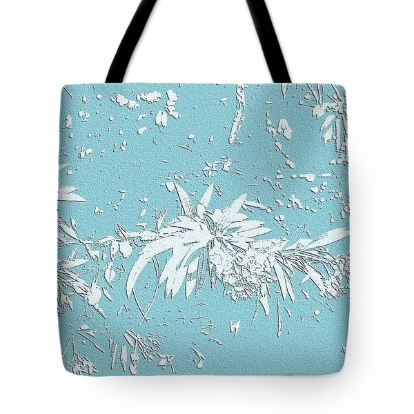 Blue And White Leaves Tote Bag