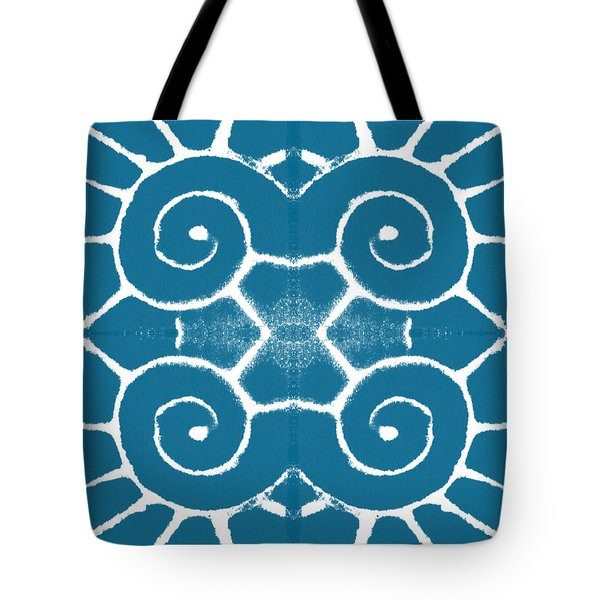 Blue And White Wave Tile- Abstract Art Tote Bag by Linda Woods