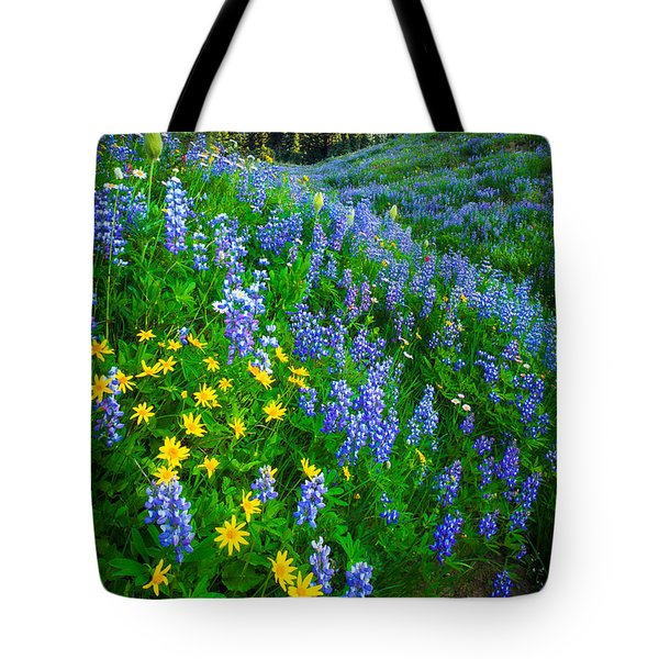Blue And Yellow Hillside Tote Bag