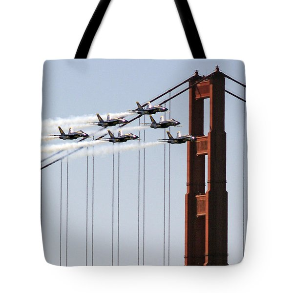 Blue Angels And The Bridge Tote Bag by Bill Gallagher