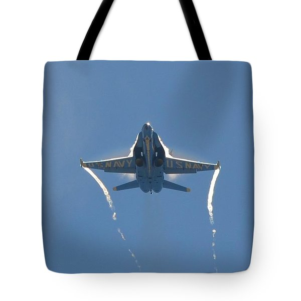 Tote Bag featuring the photograph Blue Angels Ghost Appears Head-on Over Pensacola Beach by Jeff at JSJ Photography