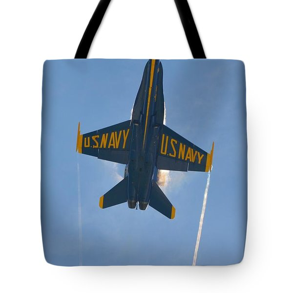 Tote Bag featuring the photograph Blue Angels Ghost Appears Over Pensacola Beach by Jeff at JSJ Photography
