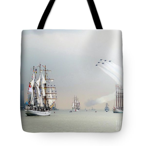 Blue Angels Over Ships N.y.c. Tote Bag by Ed Weidman