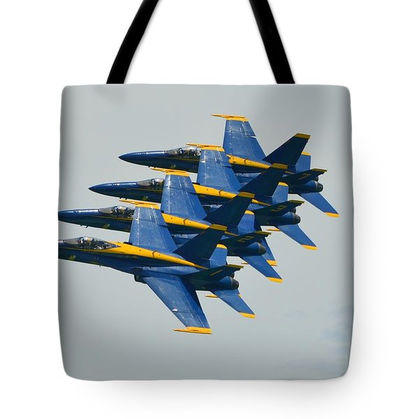 Tote Bag featuring the photograph Blue Angels Practice Echelon Formation by Jeff at JSJ Photography