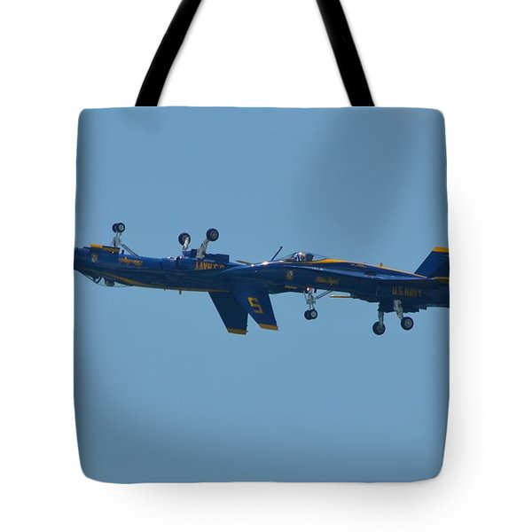 Tote Bag featuring the photograph Blue Angels Practice Up And Down With Low And Slow by Jeff at JSJ Photography