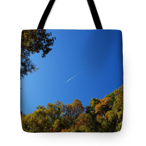 Tote Bag featuring the photograph Blue Autumn Skies by Kelvin Booker