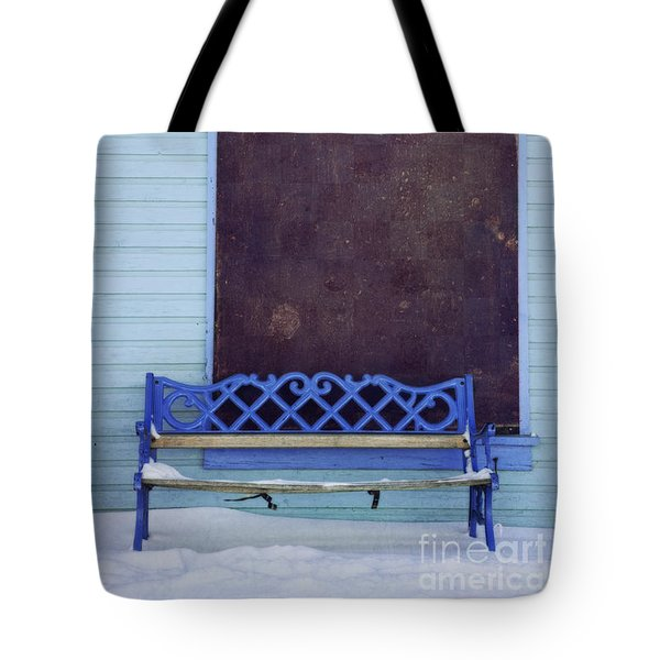 Blue Bench Tote Bag by Priska Wettstein