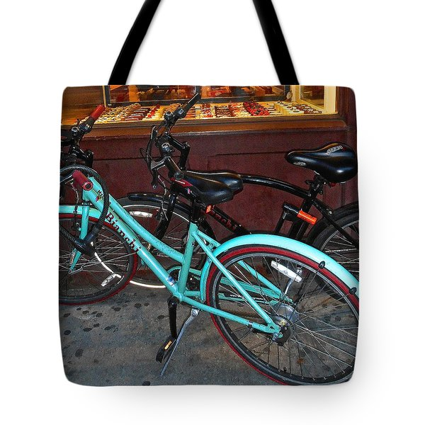 Tote Bag featuring the photograph Blue Bianchi Bike by Joan Reese