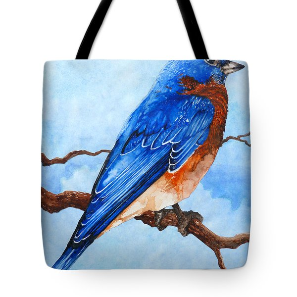 Tote Bag featuring the painting Blue Bird by Curtiss Shaffer
