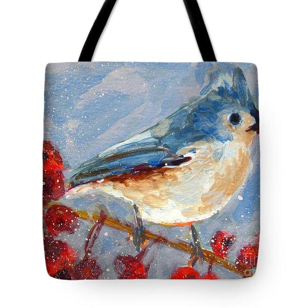 Blue Bird In Winter - Tuft Titmouse Modern Impressionist Art Tote Bag