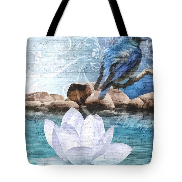 Blue Bird Tote Bag by Mo T
