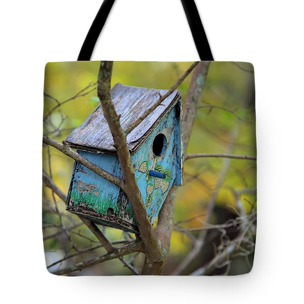 Tote Bag featuring the photograph Blue Birdhouse by Gordon Elwell