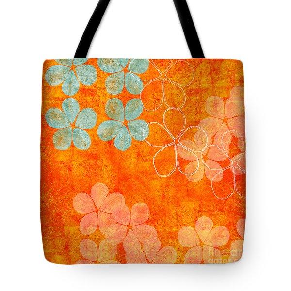 Blue Blossom On Orange Tote Bag