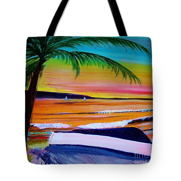 Blue Boat Waiting Tote Bag