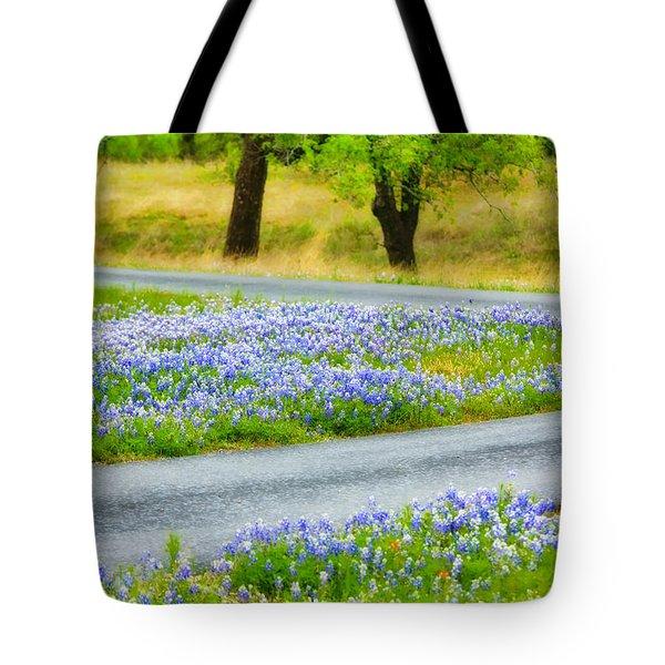 Blue Bonnets Tote Bag by Joan Bertucci
