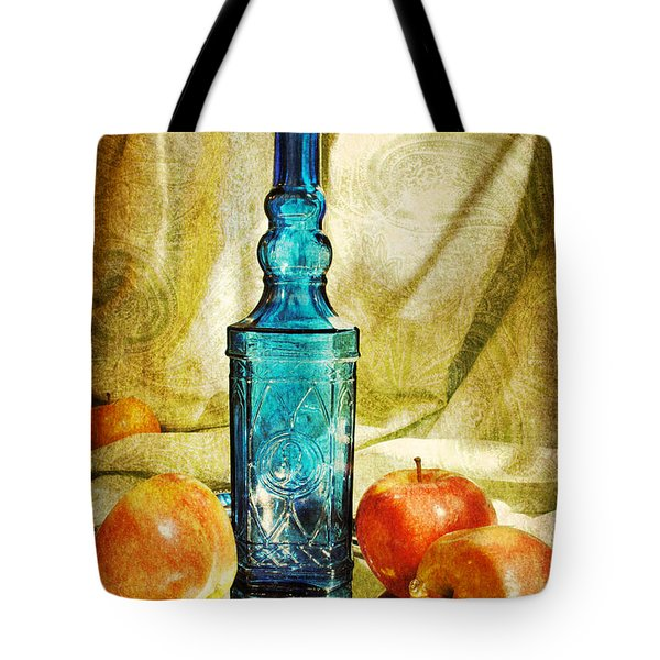 Blue Bottle With Apples Tote Bag