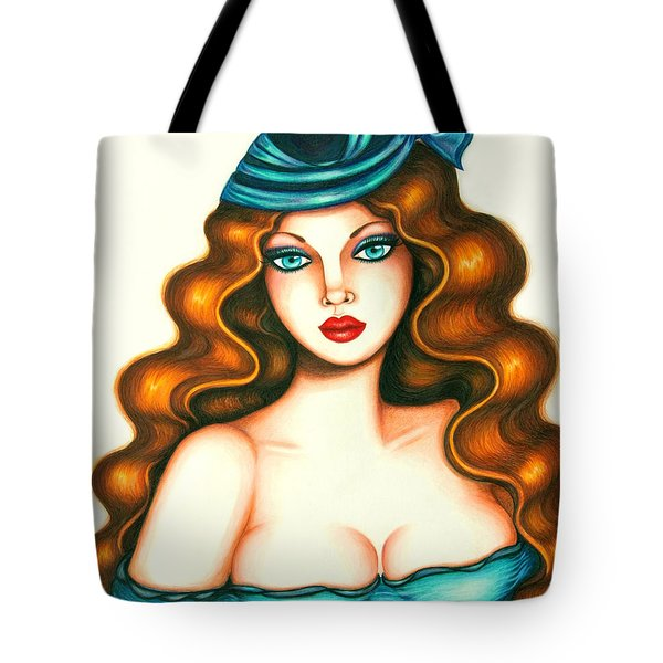 Blue Bow Hat Tote Bag