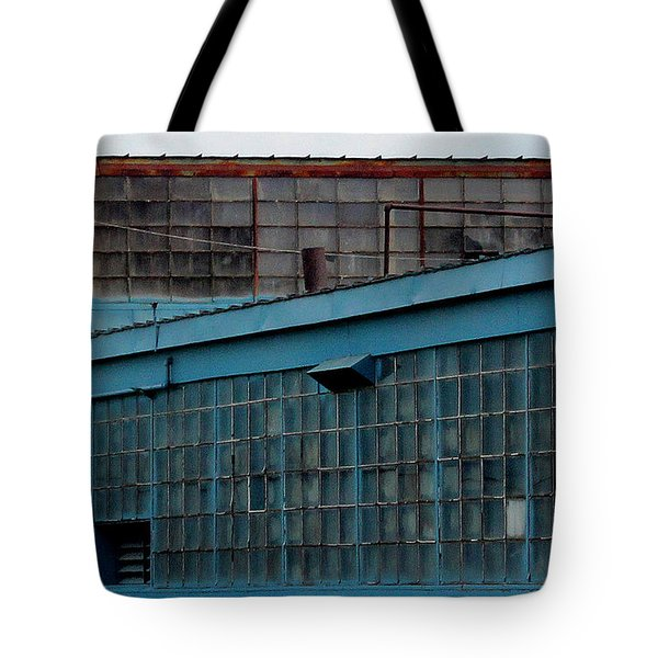 Blue Building Windows Tote Bag