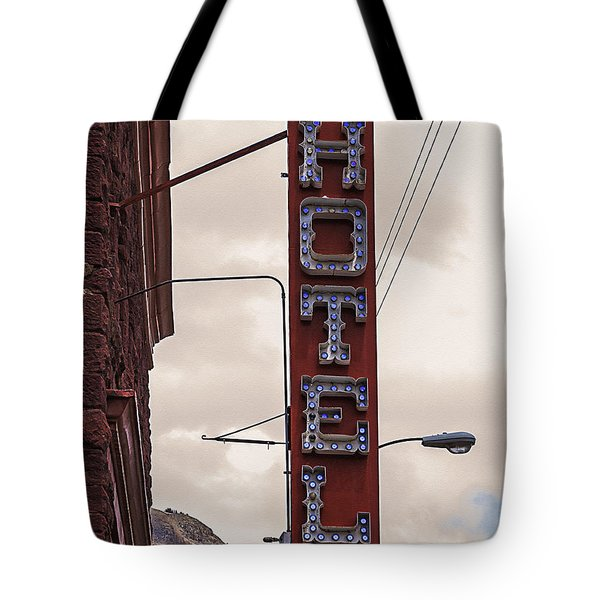 Blue Bulbs Hotel Sign Tote Bag by Janice Rae Pariza