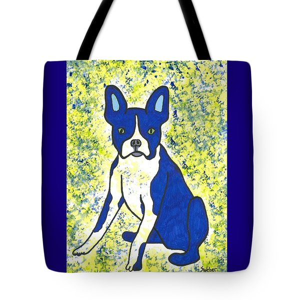 Tote Bag featuring the painting Blue Bulldog by Susie Weber