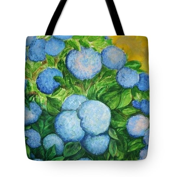 Tote Bag featuring the painting Blue Bush by Rae Chichilnitsky