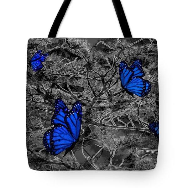Blue Butterflies 2 Tote Bag by Barbara St Jean