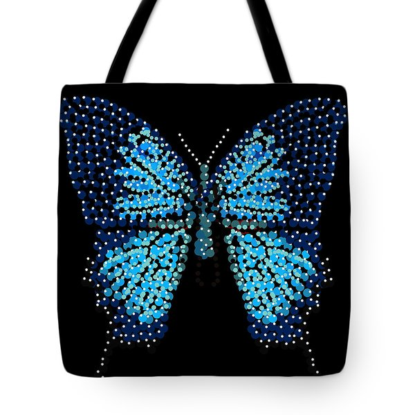 Blue Butterfly Black Background Tote Bag