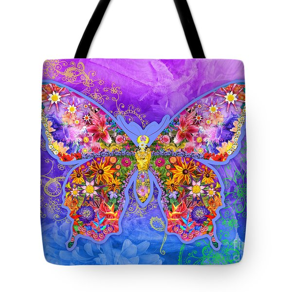 Blue Butterfly Floral Tote Bag by Alixandra Mullins