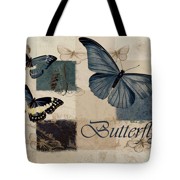 Blue Butterfly - J118118115-01a Tote Bag by Variance Collections