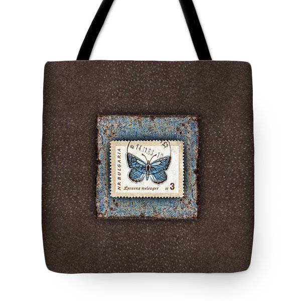 Blue Butterfly On Copper Tote Bag