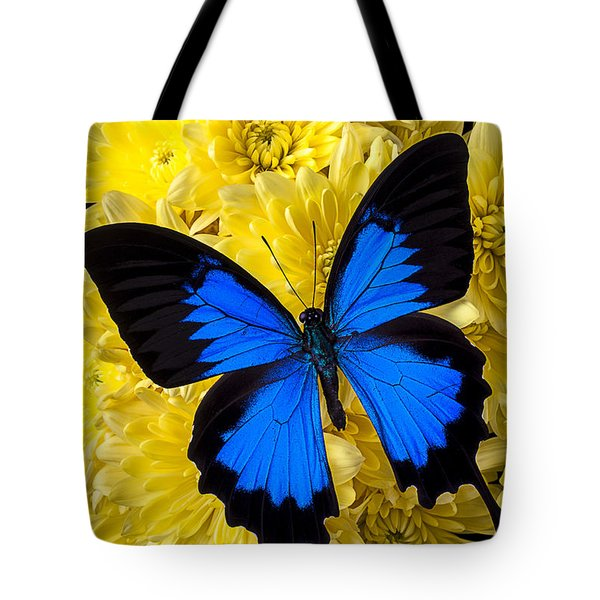 Blue Butterfly On Poms Tote Bag by Garry Gay