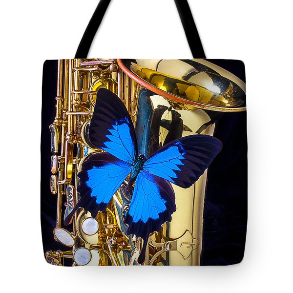 Blue Butterfly On Sax Tote Bag by Garry Gay